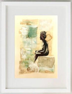 """""""Attesa 2"""", Acquerello, acrilico, china, biro, garza, 20 x 30"""