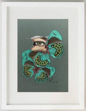 METAMORFOSI, Pastelli su carta sabbiata, 20x30