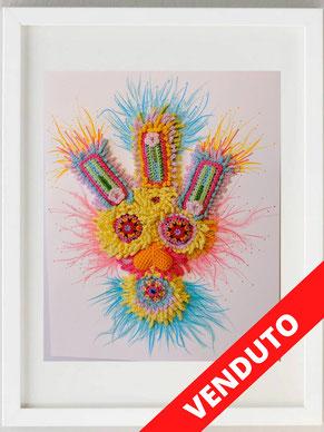 Scimmia n. 13, 2020, Pastelli, pennarello, uncinetto e ricamo, tecnica personale, 24 x 30 (Foto Monica Primosi)