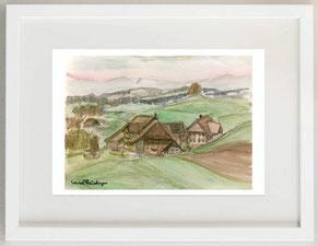 """"""" Landschaft"""", Aquarell, 26 x 18"""