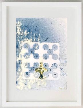 """""""TIEMPO"""", 2020, Papel manual, acuarela manual - pan de oro, 20 x 30"""