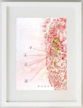 """""""TIEMPO PASADO"""", 2020, Papel manual, acuarela manual - pan de oro, 20 x 30"""