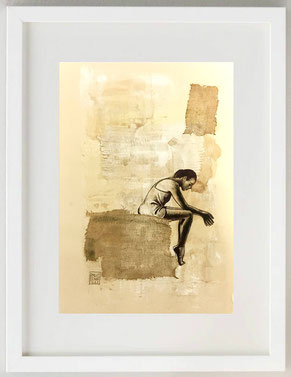"""Pensiero"", Acquerello, acrilico, china, biro, garza, 20 x 30"