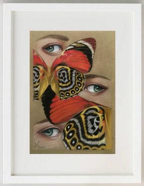 SGUARDI DI FARFALLE, Pastelli su carta sabbiata, 20x30