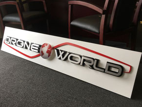 Drone World 3D Lobby Wall Office Sign