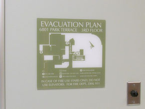 Kerlan Evacuation Plan Office Sign