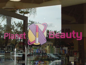 Planet Beauty Window Sign