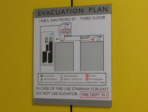 San Pedro 1 Evacuation Plan Office Sign