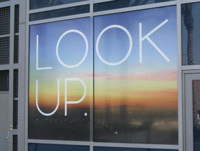Look Up Window Sign