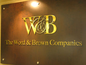 Word and Brown 3D Lobby Wall Office Sign
