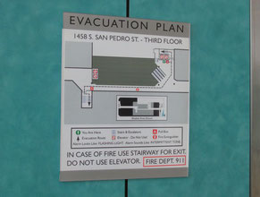 San Pedro 2 Evacuation Plan Office Sign