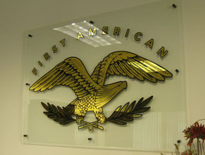 Eagle on Glass Gold Leaf Sign