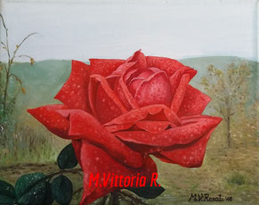 red rose in the garden, oil on canvas cm 24x30, 2010