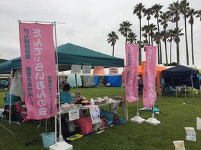 会場となったこどものくにには、たくさんのテントが立ち並びました。だんでぃらいおんの会は、ピンクの幟が目印。
