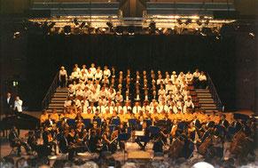 1992: Die Sängerfreunde Leerstetten bei einem Jubiläumskonzert ihres Partnerchors Hutton & Shenfield Choral Society in England