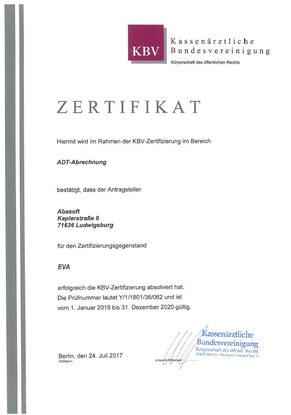 abasoft EVA Praxissoftware ADT-Abrechnung Zertifizierung