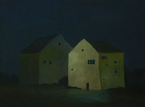 """Martin Guido Becker, """"Zwei Häuser"""", 2016, Öl/Lwd,  30/40 cm"""