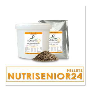 NutriSenior24 - Deckt den benötigten Tagesbedarf an Vitaminen und Mineralstoffen für Pferde ab dem 15. Lebensjahr.