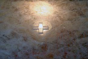 Plaque d'autel en cristal 70x70x7, don du maître verrier Olivier JUTEAU