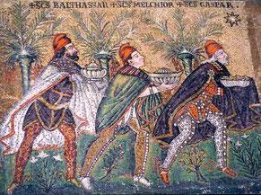Basilique St Apollinaire, Ravennes, mosaïque, vers 600 / Photo Clio20 - Wikipédia