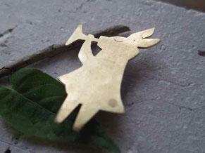 兎(うさぎ)さん 真鍮ブローチ brass rabbit brooch 手作り handmade