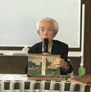 木曾街道六十九次を紹介する高村会員             写真:田村七重