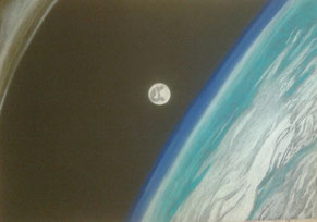 The moon viewed from the International Space Station, pastel on black paper, 60x84cm