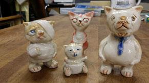 陶人形 ネコ 家族 一家 ゆるかわいい i-ppo たおか 田岡正臣
