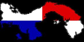 Geografische Karte kombiniert mit der Nationalflagge von Panama