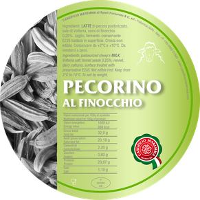 pecorino maremma new taste sheep sheep's cheese dairy caseificio tuscany tuscan spadi follonica label italian origin milk italy matured aged flavored flavor al finocchio fennel seed aromatic