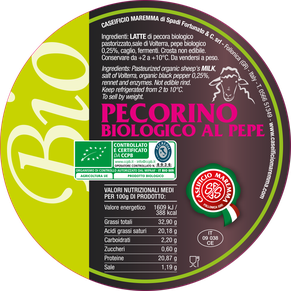 pecorino sheep sheep's lactose free cheese dairy caseificio tuscany tuscan spadi follonica label italian origin organic biological bio certificated logo milk italy fresh tender  biologico al pepe pepper