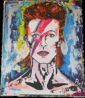Peinture colorée acrylique portrait David Bowie Aladdin sane éclair visage