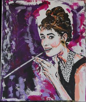 Peinture colorée acrylique portrait audrey hepburn breakfast at tiffany's porte cigarette