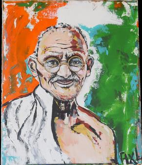 Peinture colorée acrylique portrait mohandas Gandhi sari blanc paix drapeau inde