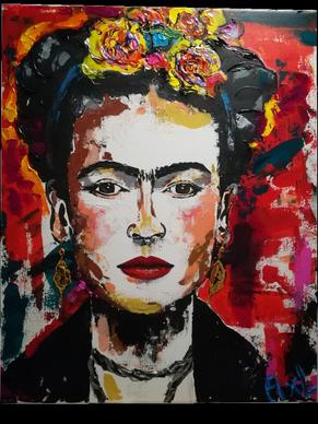 Peinture colorée acrylique portrait Frida Kahlo