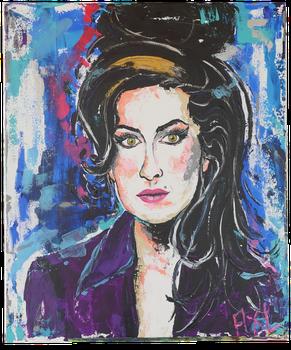 Peinture colorée acrylique portrait Amy Winehouse coiffure choucroute