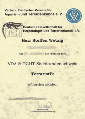 Zertifikat Terraristik Sachkundenachweis