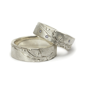 Eheringe Lebenslinie: 925/- Silber mit 3 Brillanten Lupenrein