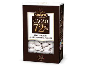 Eleganti confetti di cioccolato extra fondente al 72%, ricoperti da un sottile guscio di zucchero colorato dall'effetto perlescente Ideale Per Bomboniere, Sacchetti, Confettata Da Cerimonia.La Confezione Contiene Circa 75/80 Confetti €7,50
