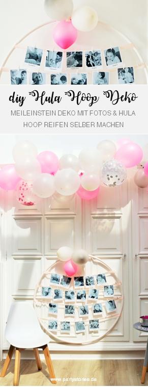 DIY Hula Hoop Reifen Deko basteln: Mit dieser Anleitung schöne Party Dekoration aus Hula Hoop Reifen und Fotos gestalten. Eine kreative und individuelle Deko Idee zur Einschulung, zum Geburtstag oder für eine Hochzeit.