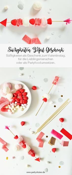 Süßigkeiten als Geschenkidee selber machen – mit dieser Anleitung Süßigkeiten Spieße zum Valentinstag verschenken; gefunden auf dem DIY Deko & Partystleing Blog Partystories.de // #Valentinstag #DIYgeschenk #Geschenkidee  #LoveisSweet