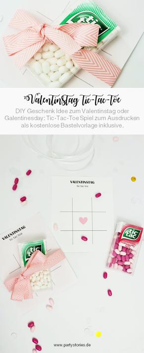 DIY Geschenk zum Valentinstag für Sie und ihn: tic-tac-toe Spiel mit Süßigkeiten verschenken, inkl. kostenloser Bastelvorlage auf Partystories.de // #valentinstag #galentinesday #diygeschenk #selberbasteln #partystories