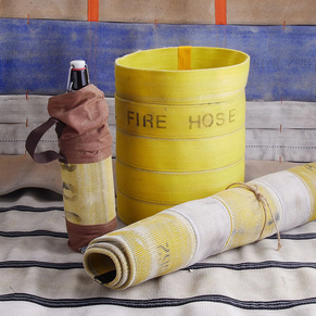 firehose wine bag trash carpet emergency services unique gift fire hose rug dainty dandelion chester nj made in america small business