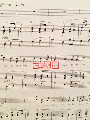 イタリア歌曲より「Caro mio ben」音に単語が対応