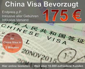 China Visum Bevorzugt günstig 175 Euro Endpreis