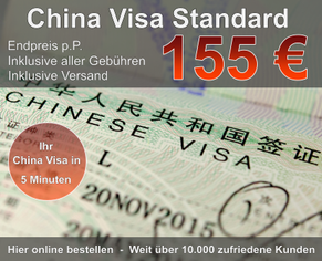 China Visum Standard günstig 155 Euro Endpreis