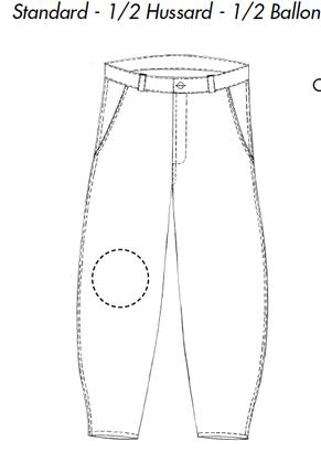 Pantalon compagnons couvreurs charpentiers en moleskine noire forme 1/2 ballon