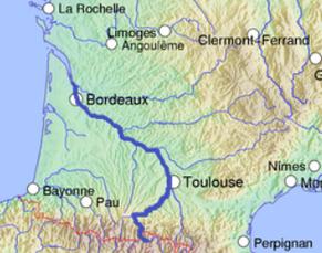 ①ガロンヌ川の地図