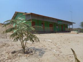 砂地に立つ学校。今後緑が増えていきますように