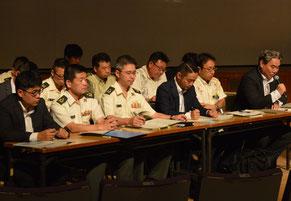 防衛省が2度目の住民説明会を開いた=11日、石垣市民会館大ホール